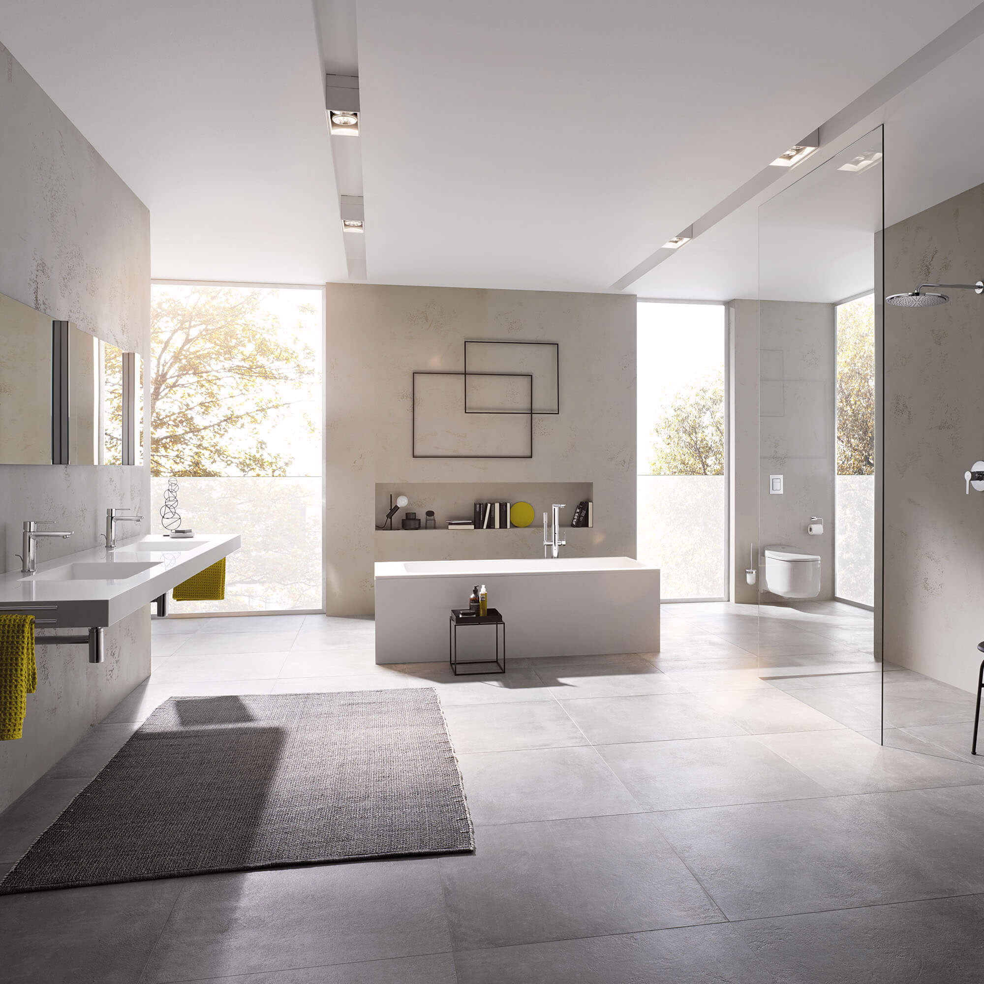 Complete bathroom display with floor to ceiling length windows.
